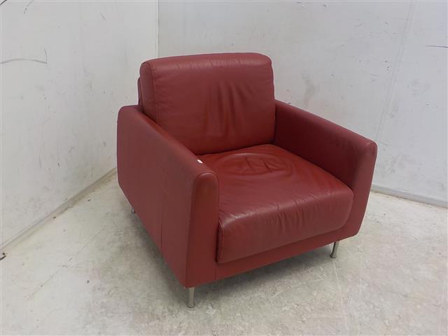 Rode Leren Relaxstoel.Rood Leren Fauteuil De Goede Winkel